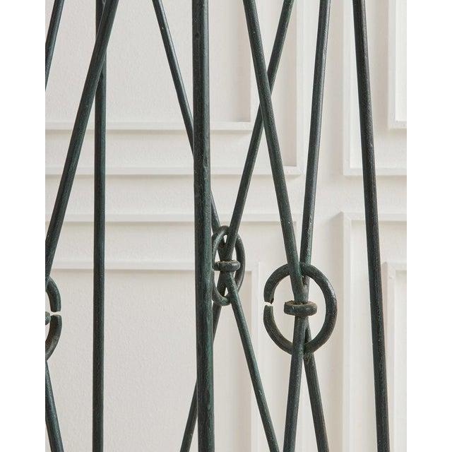 Casa Bique Pair of Verdigris Iron and Black Marble Pedestals by Casa Bisque For Sale - Image 4 of 6