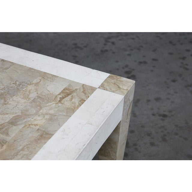 Fiberglass 1990s Postmodern Dual Color Tessellated Stone Cube Square Coffee Table For Sale - Image 7 of 13