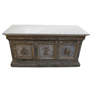 Late 18th Century Painted Double Sided Counter With a White Marble Top For Sale