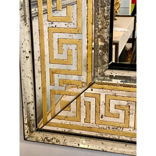 Late 20th Century Hollywood Regency Mirrors Gilt Gold Greek Key Design Wall, Console Pier a Pair For Sale - Image 5 of 13