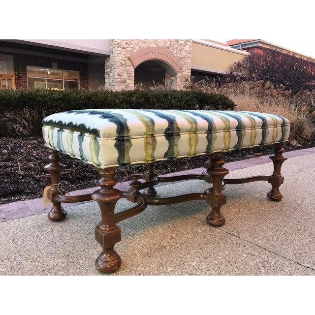 1940s Vintage Jacobean Bench Laura Kirar Highland Court Balustrade Velvet Upholstered For Sale - Image 4 of 5