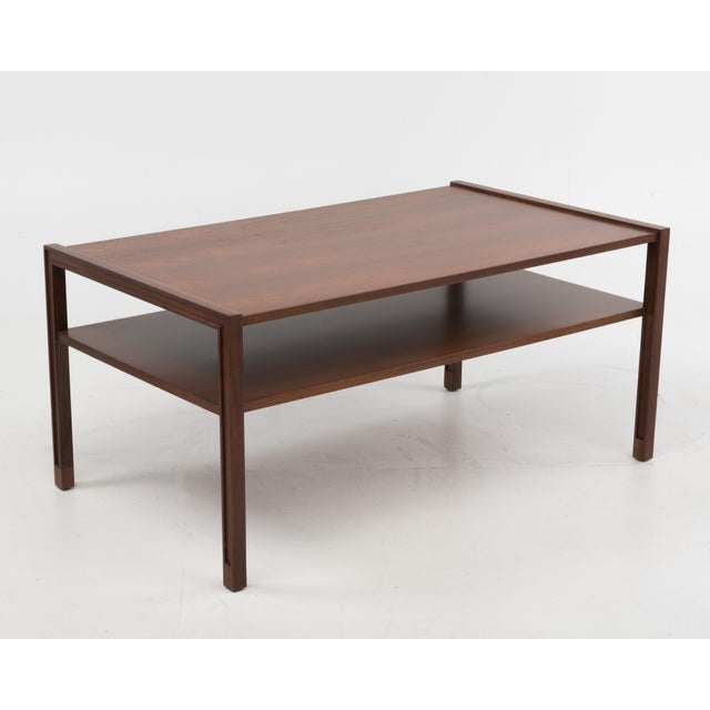 Mid-Century Modern Edward Wormley Dunbar Coffee Cocktail Table 1960s Marked Brass Tag For Sale - Image 3 of 11
