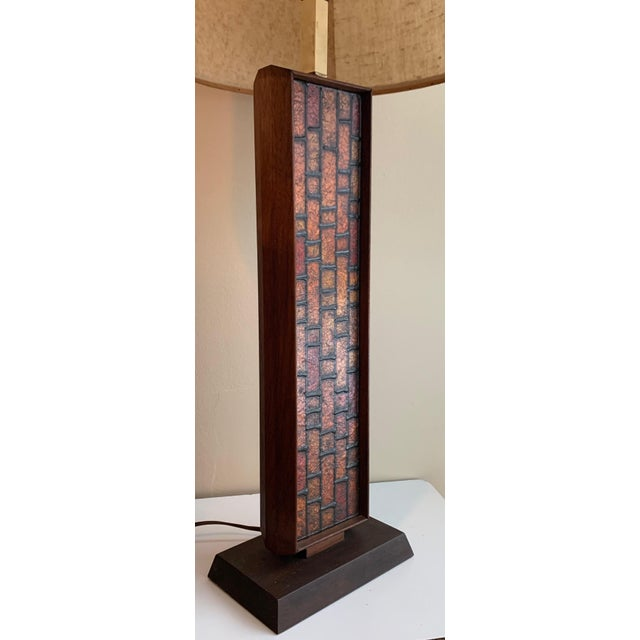 1960s Mosaic Style Wood Lamp Mid Century Modern Retro Lighting For Sale - Image 10 of 10