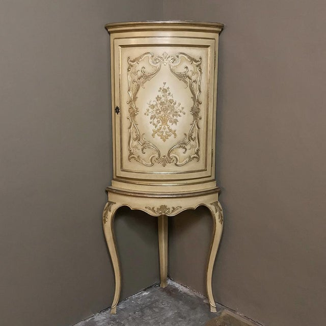 Antique Italian Baroque Painted Corner Cabinet For Sale - Image 12 of 12