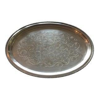 """Mid-Century Bohemian 18"""" Engraved Brass Tray For Sale"""