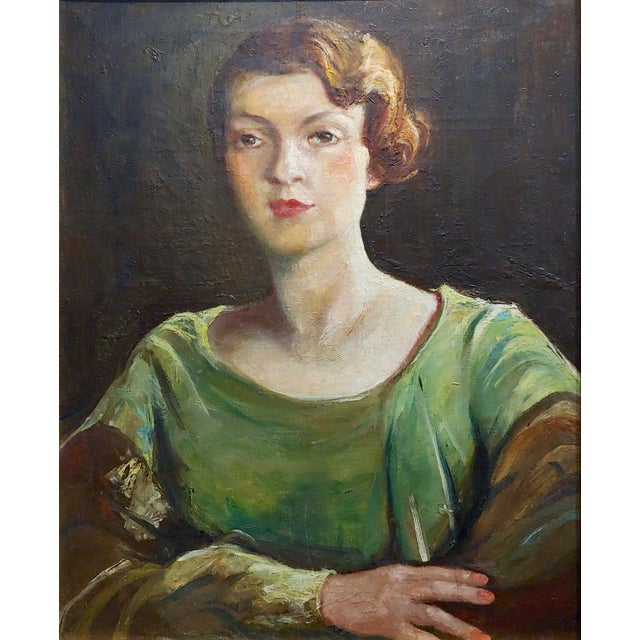 Antonia Greene -1920s Portrait of a Woman in Green -Oil Painting For Sale - Image 4 of 9