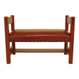 Stickley Cherry Gustav Design Leather Seat Bench