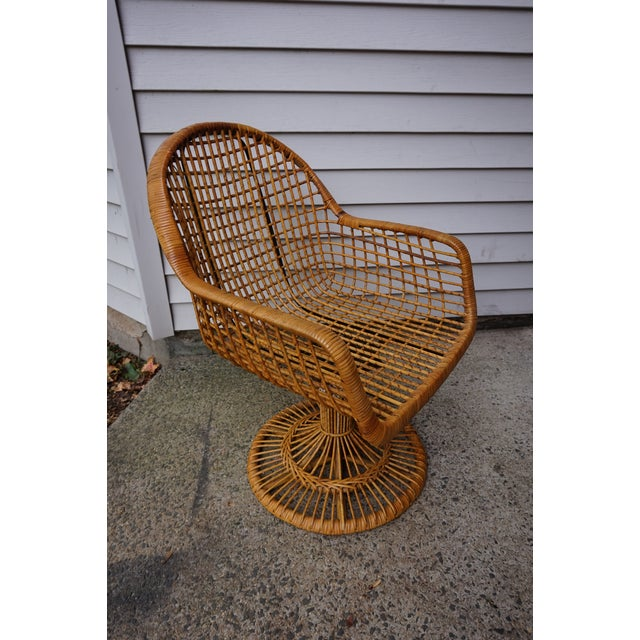 Brown Franco Albini Era Bamboo Swivel Chair For Sale - Image 8 of 11
