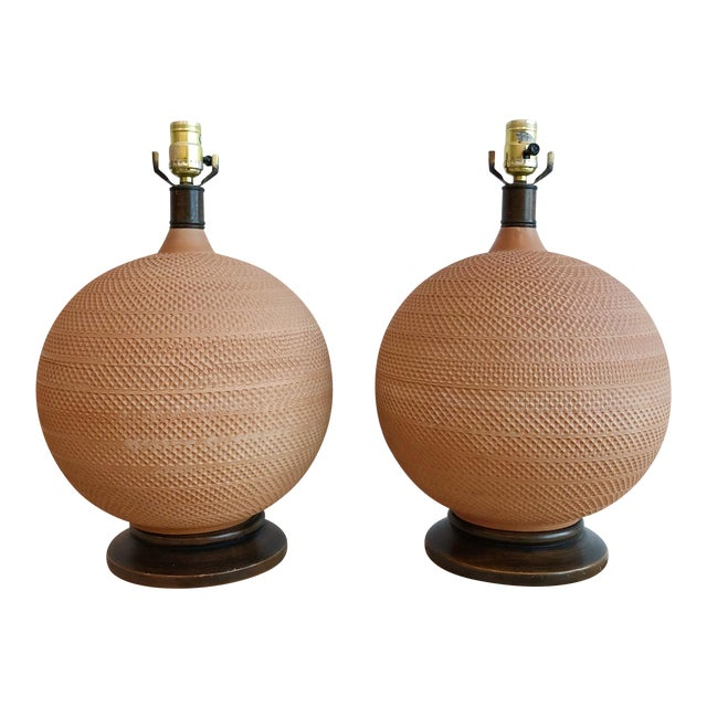 Pair Vintage Mutual Sunset Incised Pottery Terra Cotta Spherical Lamps For Sale