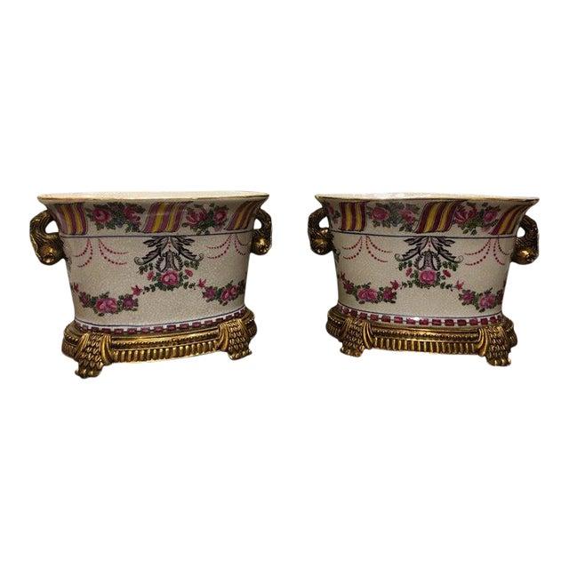 Porcelain Cache Pots or Jardinières with a Floral Motif, 20th Century - A Pair For Sale
