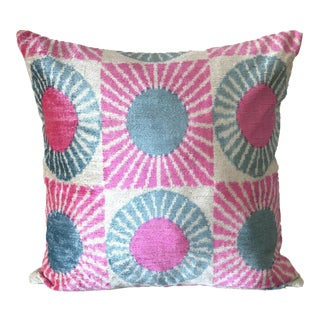 Pink and Blue Silk Ikat Velvet Pillow Cover For Sale