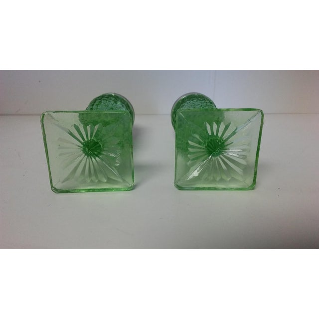 Art Deco Vintage Miss America Green Salt and Pepper Shakers - a Pair For Sale - Image 3 of 10