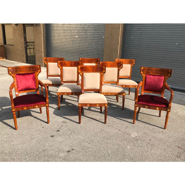 1910s Vintage Biedermeier Style Flame Mahogany Dining Chairs- Set of 8 For Sale - Image 13 of 13