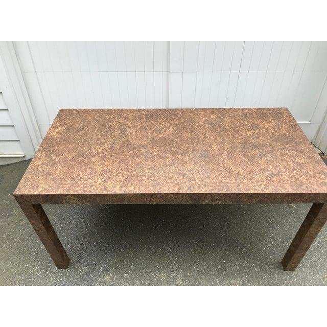Burlwood Vintage Burl Wood Laminate Parsons Style Dining Table For Sale - Image 7 of 10