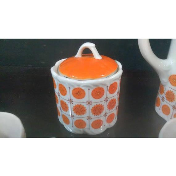Vintage Mid-Century Japanese White & Orange Porcelain Tea Set - 9 Pc. - Image 5 of 8