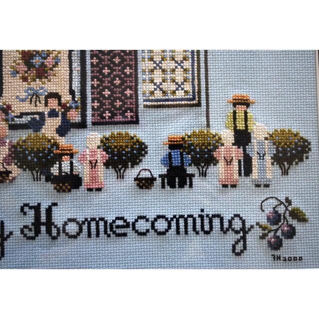 Americana Amish Style Blueberry Homecoming Cross Stitch Textile Art For Sale - Image 3 of 8