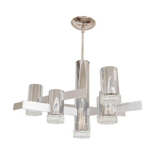 Brushed and Polished Nickel Chandelier For Sale