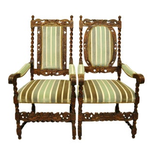 Antique Barley Twist Chairs - a Pair For Sale