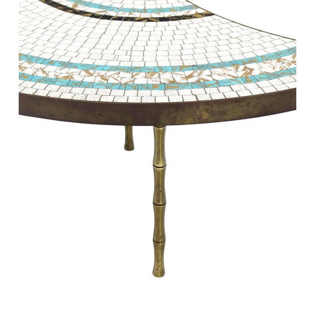 Early 20th Century Three-Part Bronze and Mosaic Round Coffee Table For Sale - Image 5 of 9