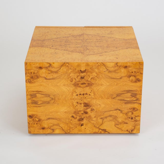 Wood Pair of Burl Wood Side Tables or Blanket Chests For Sale - Image 7 of 11