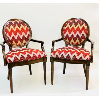 Contemporary Dramatic Herringbone Print Accent Chairs - a Pair Preview