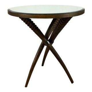 Industrial Modern Carved Wood Horned Side Table For Sale