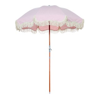Premium Beach Umbrella - Lauren's Pink Stripe with Fringe For Sale