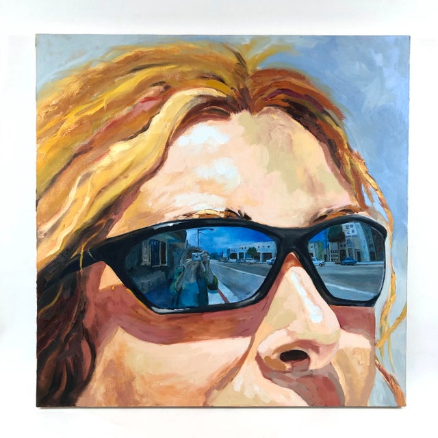 Yellow 2004 Original Portrait ''City Streets'' Oil on Canvas Painting Signed Susan Lawrence For Sale - Image 8 of 8