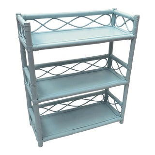 20th Century Shabby Chic Pale Aqua Rattan 3-Tier Bookcase For Sale
