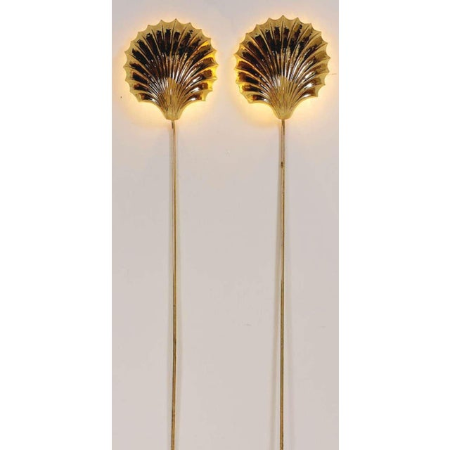 Stunning pair of brass shell sconces that mount in place. They glow atmospherically against a wall. Tubular brass cord...
