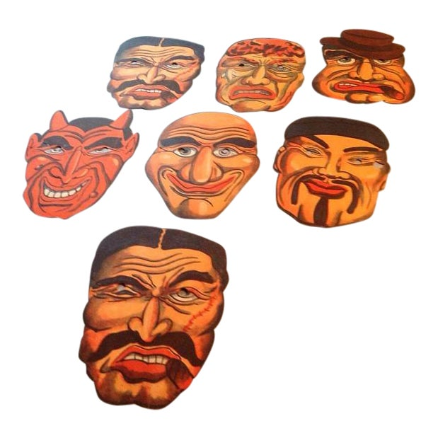 1940's Vintage Halloween Masks - Set of 7 - Image 1 of 5