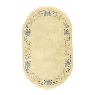 Antique Chinese Peking Oval Rug With Romantic Chinoiserie Style - 04'11 X 07'11 For Sale