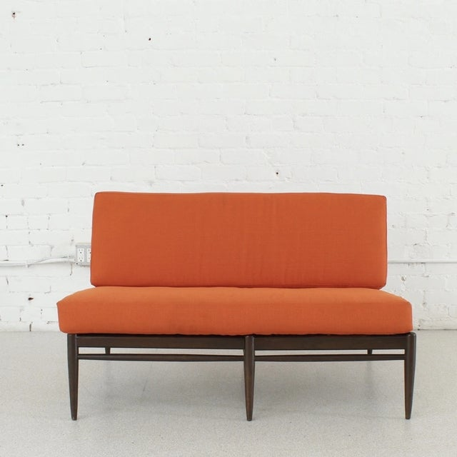 Mid-Century Modern Vintage Orange Tweed Armless Low Profile Loveseat For Sale - Image 3 of 7