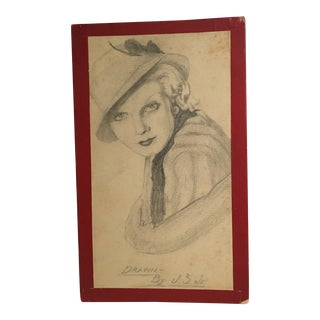 """1930s Art Deco """"Lady With a Hat"""" Pencil Drawing For Sale"""