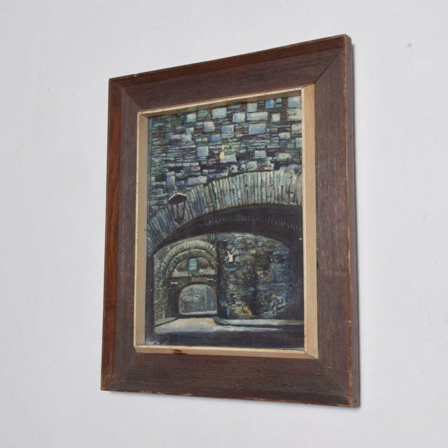 For your pleasure: Oil on Canvas Painting- Stone Bridge depicted- Mid Century Modern. Signed Art- unable to fully read-...