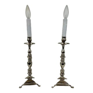 1990s Lion Footed Nickel Plated Single Light Table Lamps - a Pair For Sale