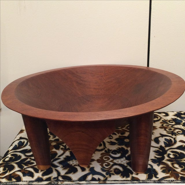 Mid-century Footed Wood Bowl - Image 3 of 7