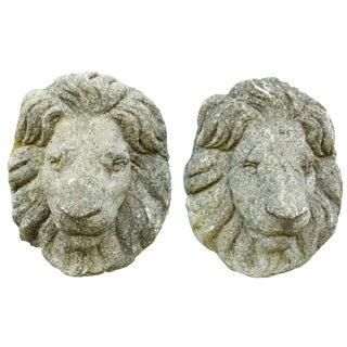 Cast Stone Garden Lion Masks - a Pair For Sale