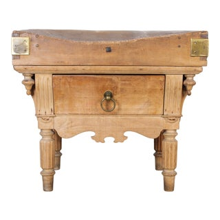 19th Century Belgian Butcher Block Table For Sale