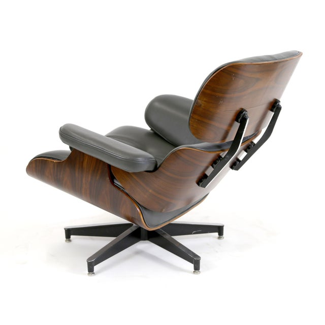 dark grey leather rosewood eames style lounge chair chairish