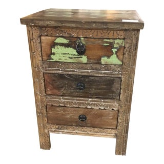 Rustic Three Drawer Reclaimed Teakwood Bedside Chest With Carvings For Sale
