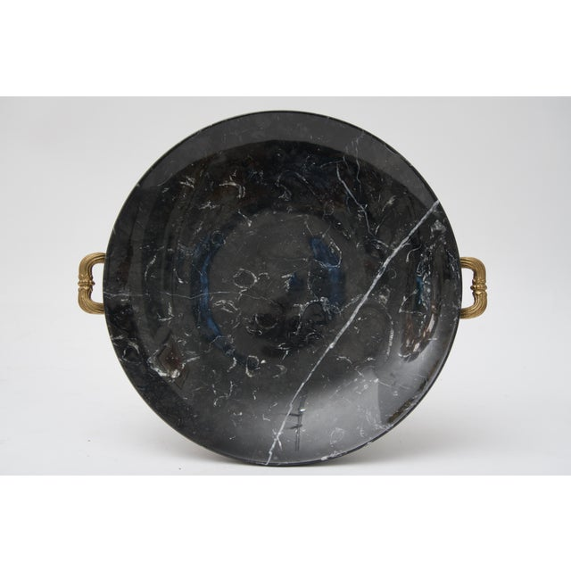 20th Century Neoclassical Bronze and Black Marble Tazza For Sale In West Palm - Image 6 of 7
