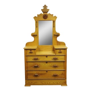 Antique Victorian Eastlake Carved Cottage Step Down Dresser Chest W/ Mirror For Sale
