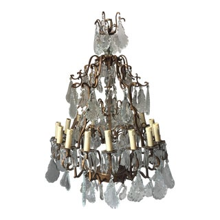 11-Light Scalloped Drop Crystal French Chandelier For Sale