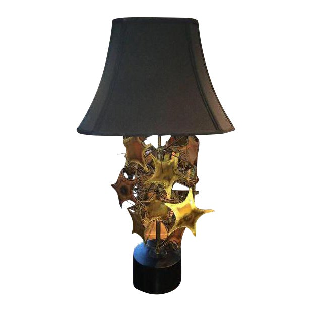 Curtis Jere Style Brutalist Mid-Century Lamp For Sale