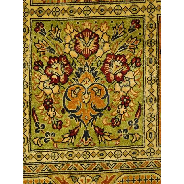 """Hand Knotted Pure Silk Persian Qom Rug - 4'10"""" x 4'10"""" - Image 7 of 9"""