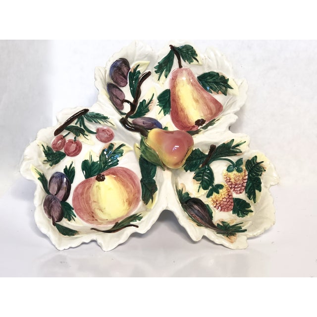 Green 1960s Vintage Italian Trompe L'oeil Fruit Divided Serving Dish For Sale - Image 8 of 8