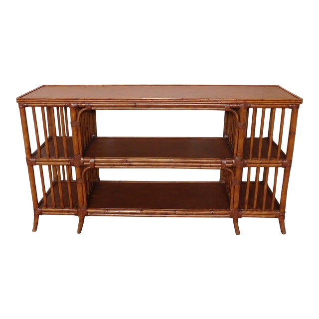 Ethan Allen Rattan Media Console Sofa Table For Sale