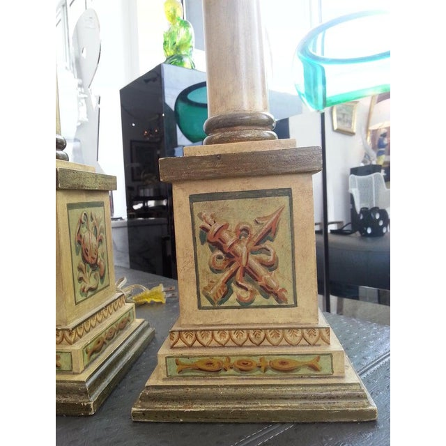 Italian Column Table Lamps Neoclassic Revival 1950s Hand Painted Wood - a Pair For Sale - Image 3 of 6