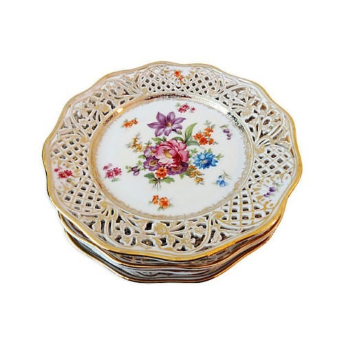 Antique Set of Dresden Plates - 8 For Sale - Image 7 of 7